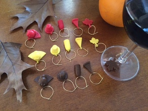 Thanksgiving wine charms