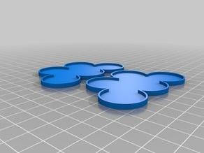25mm Wargaming Miniature Round Base 5-Man Movement Tray x2
