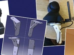 Support pour ipcam (Foscam) avec système de maintien de fil d'alimentation / Support for IP cam (Foscam) with power cord retaining device