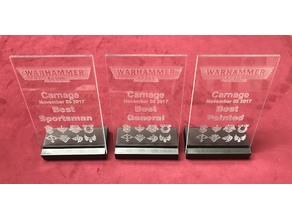 Tournaments Awards / Plaque / Trophy - Laser Cut 0.20in Clear Acrylic and a 3D Printed Base