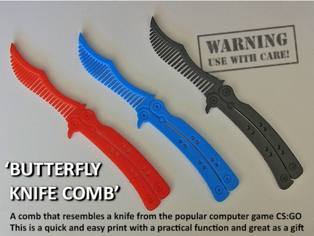 Butterfly Knife Comb by muzz64 - Thingiverse
