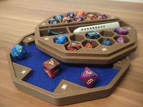Dice Box n Tray (18 slot, miniature, pen, rubber, magnetic)
