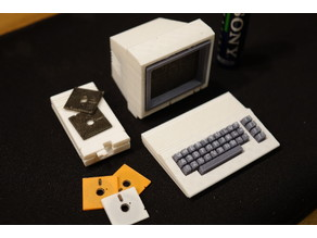 Tiny Commodore C64C, dual head keyboard letter print etc.