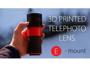 3d-printed telephoto lens (Sony E-mount)