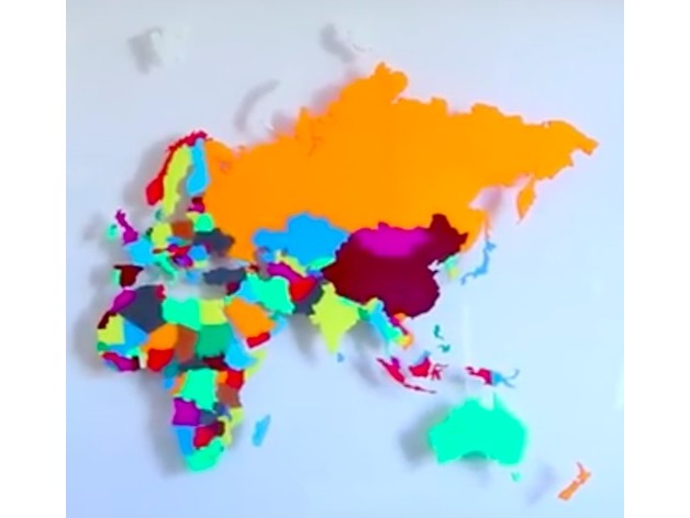 Europe, Asia, Africa, Australia separated countries, world map by ...