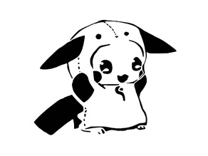 Panda Pikachu stencil