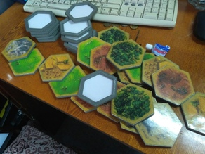 K Catan contour hexes with borders and ext. for 5-6 gamers