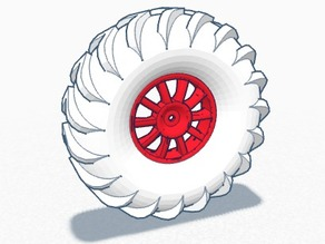 RC Tractor Tire w/ Wheel for Axial, Traxxas, etc.