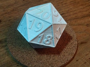 D20 - Dropdown Die - 20 Sided Die And Dual Extrusion
