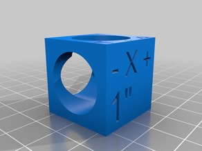 """1x1x1"""" calibration cube with .75"""" id holes & text"""