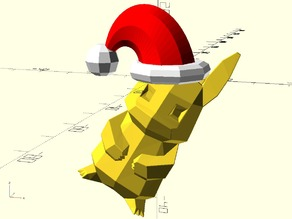 Santa hat for low-poly pikachu