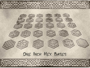 1 Inch Hexagonal Bases (x30) for Dungeons & Dragons or Warhammer tabletop Miniatures