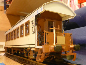 Passenger carriage.  Model railroad Train
