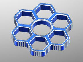 Fidget Hand Sixtuple Spinner with 6xM12 hex nuts