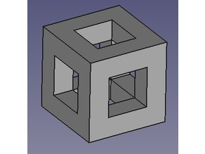 Cube with square holes in it