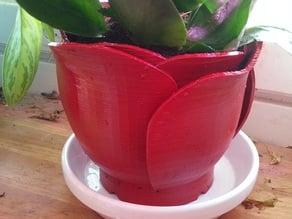Rose petal flower pot