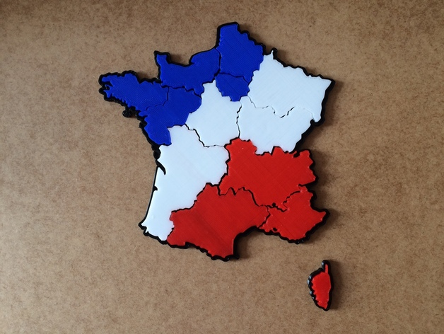 Map Of France New Regions.France New Regions Map Puzzle By Colonel3d Thingiverse