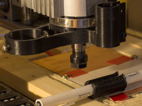 CNC vacuum and pen/auxiliary mount