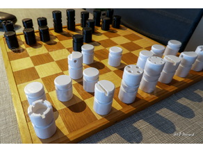 Pièces pour jouer au échecs. J'ai dessiné et réalisé ces pièces en bois en 1979. Une version revisitée semble bien convenir pour l'impression 3D :-)
