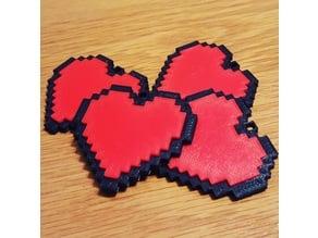 8-bit Heart Keyring