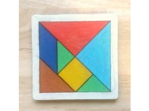 Tangram Wood puzzle lasercut