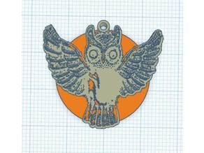 Pendant Full moon owl - Pendentif Chouette de pleine lune