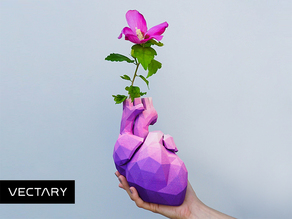Low Poly Heart Vase