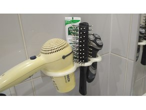 Bathroom hairdryer and shaver holder