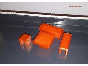 Bank Hocker & Tisch für Playmobil Figuren