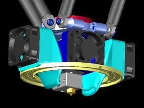 Fan shroud, dual cooling fan mounts, + ring LED mount for E3D v6 hotend.