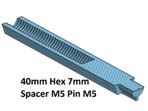 Hex 7 Spacer, Standoff 10, 20, 30, 40, 50, 60, 70, 80, 90, 100 mm; M5 Pin M5