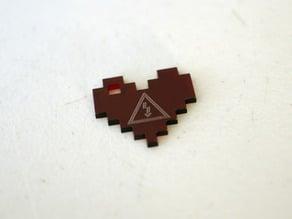 CRASH Space Logo 8-Bit Heart Pendant