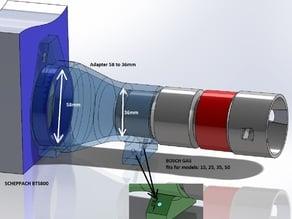 Vacuum cleaner / Staubsauger Adapter (36 to 58 mm) from BOSCH GAS series to Scheppach Bandschleifer
