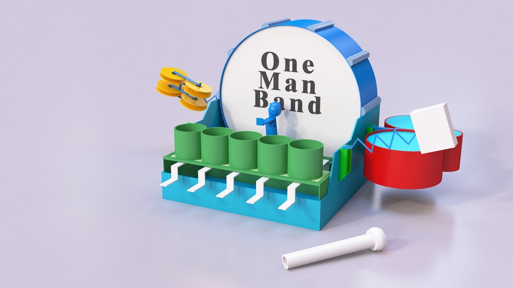 3D Printed One Man Band Musical Instrument by 3DSage - Thingiverse