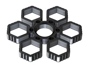 Fidget Hand Sixtuple Spinner with 6xM14 hex nuts