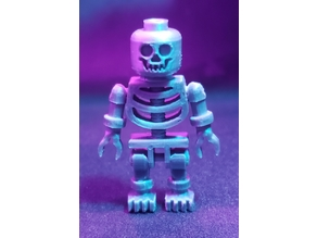Lego Skeleton Minifigure, 1:1 with Printed Skull Face