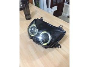 Kawasaki Z1000 Twin dual beam projector headlight conversion also fits ninja 250 KLE KLR