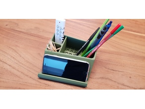 Pen and stuff holder with angled Phone holder