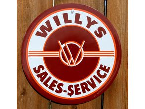 Vintage Willys sales and service sign/coin