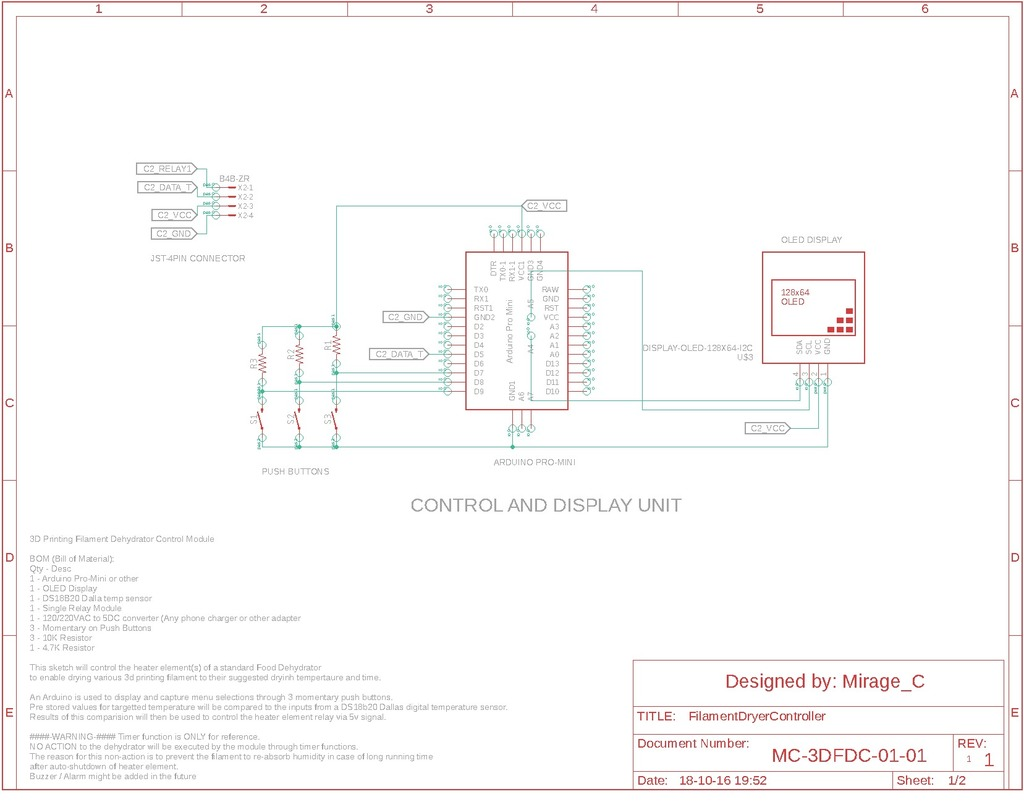 Filament Dehydrator Temperature controller - Thermostat by MirageC