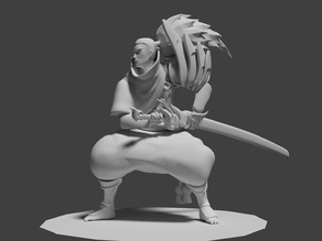 Yasuo detailed stl and craftware with supports