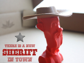 Cowboy bust with hat