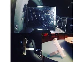 Tiltable Tesla Model S/X headrest tablet holder