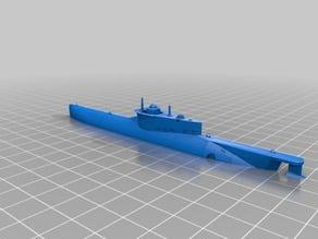 1-87 HO Type XXVIIb Seehund mini submarine waterline model