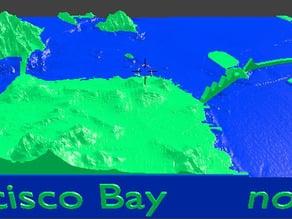 San Francisco Bay 3d topo map
