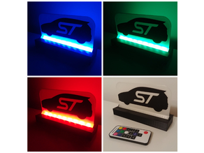 LED Backlit Desktop Sign (Example: Fiesta ST Silhouette)