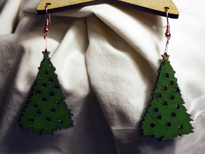 Laser Cut Christmas tree Earings