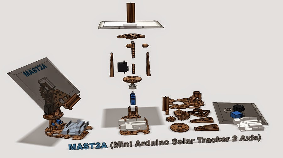 MAST2A : Mini Arduino Solar Tracker 2 Axis by oclains - Thingiverse