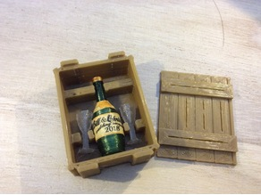 Crate for champagne bottle and glasses (1:18 scale)