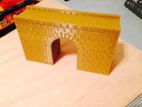 Model railroad, brick arch bridge